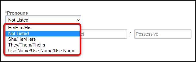Arrow pointing to Pronoun drop-down list options