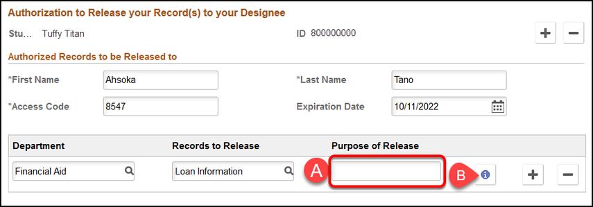 Purpose of Release field