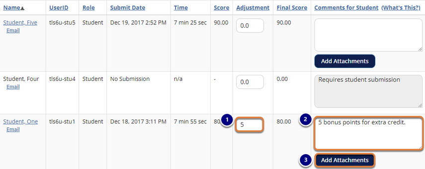 Screenshot example of entering 5 bonus points for a score adjustment and a comment. Graphic link opens modal with larger image. Press Escape to exit modal.