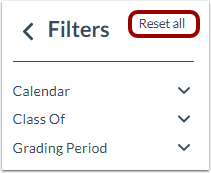 Reset Filters