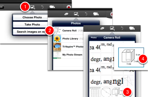 Go into your presentation App such as 'ShowMe'.  Import the image from your iPad Photo Library..