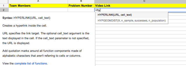 """Select the cell.  Start typing, """"=hy"""" (without the quotes).  The following directions come up."""
