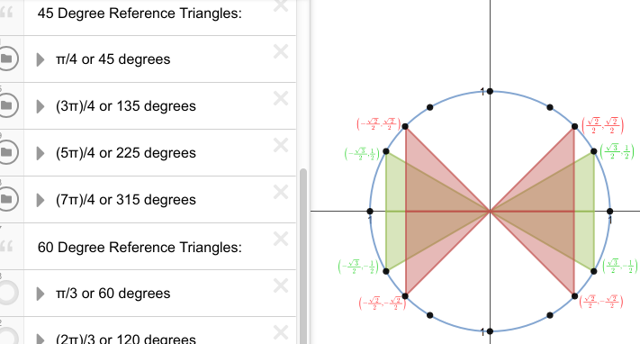 Displayed are both the 30 degree and the 45 degree reference triangles.