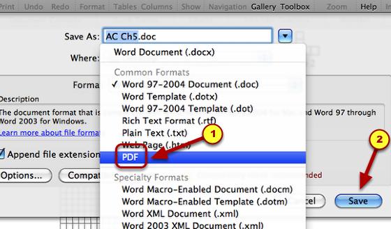 """2. Choose """"PDF""""."""
