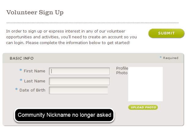 Community Nickname Removed from Volunteer Registration