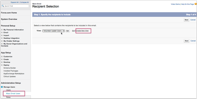 Step 1: Go to Setup / Admin Setup / Manage Users / Mass Email Users and select or create a view
