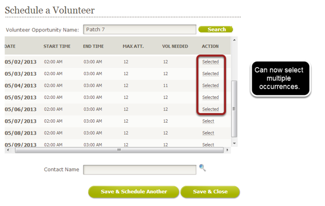 Schedule a Volunteer Page