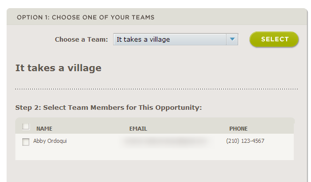 Team Members can now sign up/express interest as part of a team
