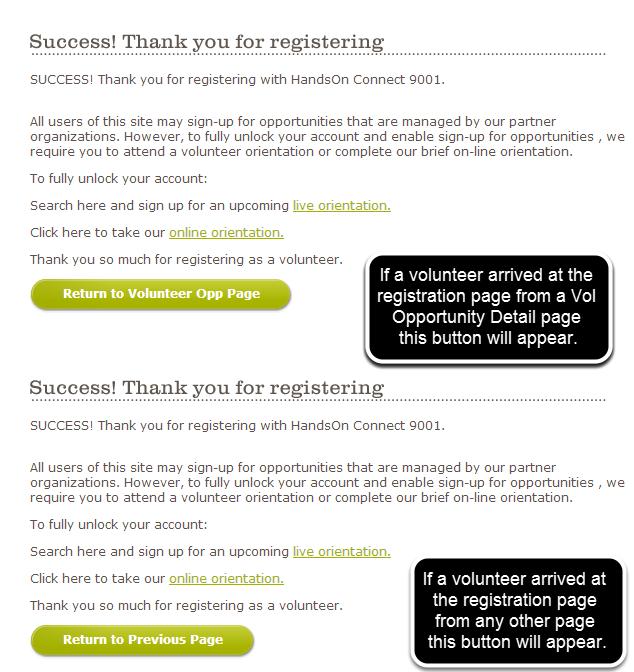 Volunteer Registration Redirect