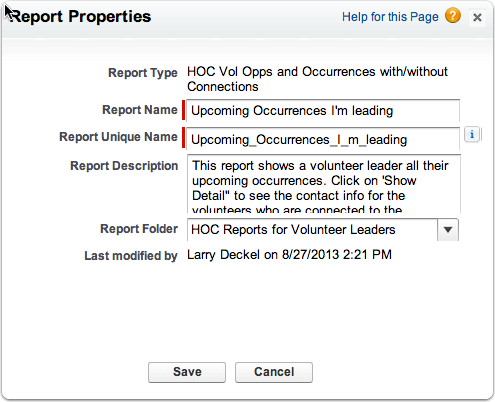 Make a report using report type HOC Vol Opps and Occurrences with/without Connections