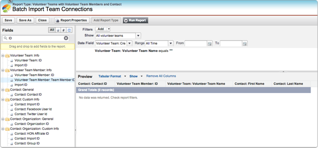 "Create a new report of type ""Volunteer Teams with Volunteer Team Members and Contact"""
