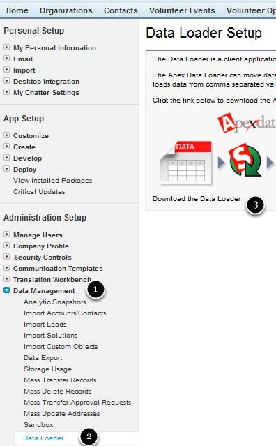 Downloading the Apex Data Loader