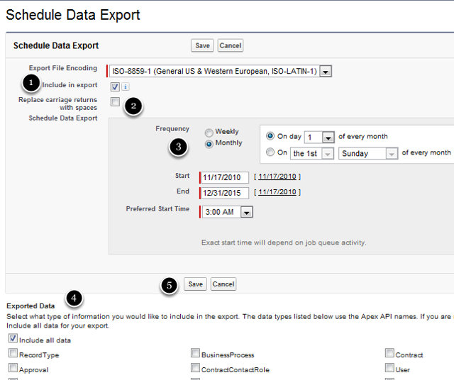 Setting the Export Specifications