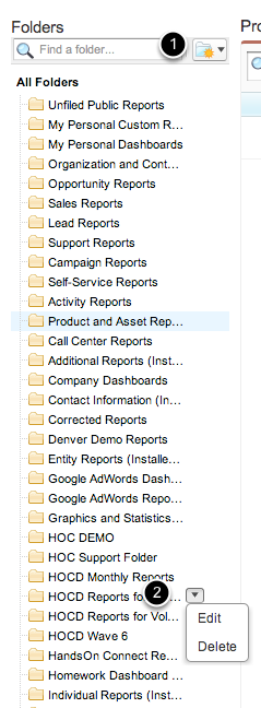 Reports are organized in folders, and you can control who can access each folder.