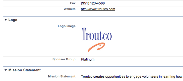 The Logo Section of the record now shows the organizational logo