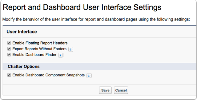 Also update your Report and Dashboard User Interface Settings