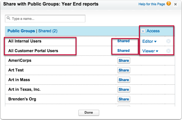 """To share with everyone on your staff (internal users), and/or to share with all customer portal users, select """"Public Groups"""""""