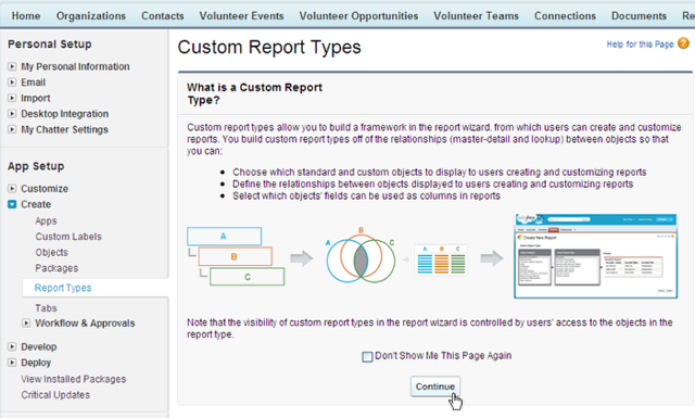 Navigate to Custom Report Types