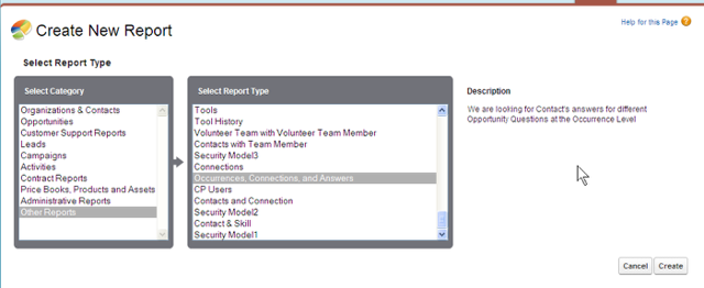 Now create a report using your new Report type.