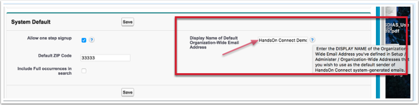 Once you've defined the name of the organization-wide email address you want to use -- update the control panel