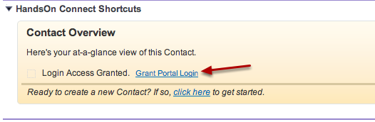 If no license is associated with the contact, you'll see a Grant Portal Login link in the Contact overview.