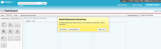 Salesforce provides an quick tour that explains the process of building a dashboard