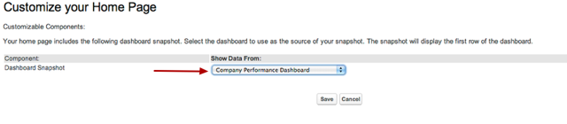 You can then choose to show data from any dashboard you have access to: