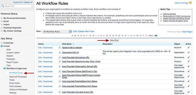 First: Create the Workflow Rule
