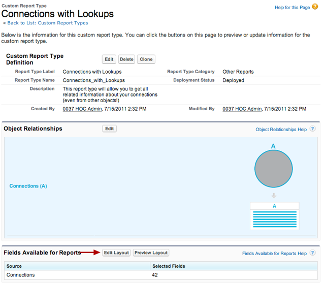 """Begin by editing the """"Fields Available for Reports"""" section of the custom report type"""