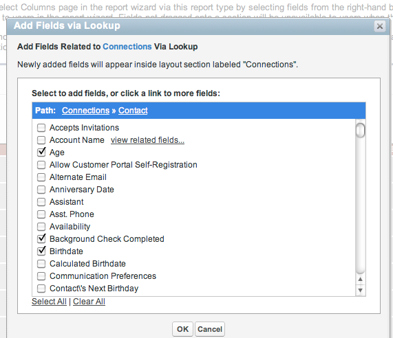 Now select the fields in the contact record