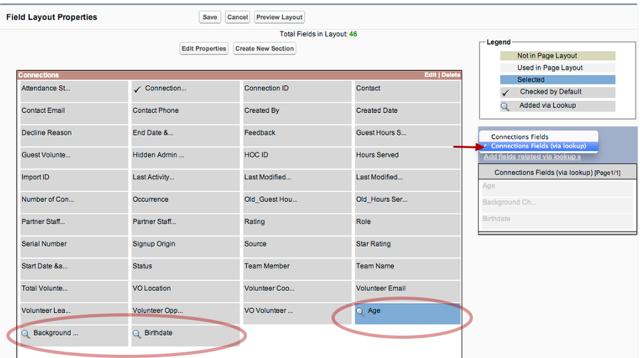 The new fields appear in the available fields list and are marked with a looking glass symbol
