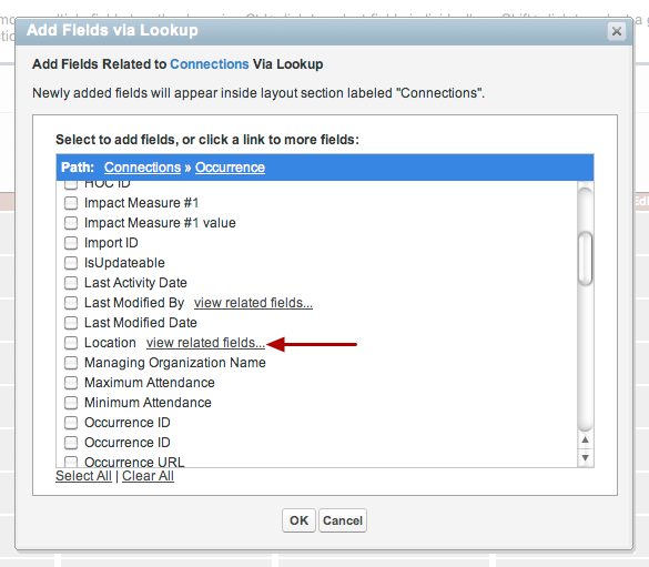 """From Occurrence we select location (which is a lookup from Occurrence) by clicking on """"view related fields"""""""
