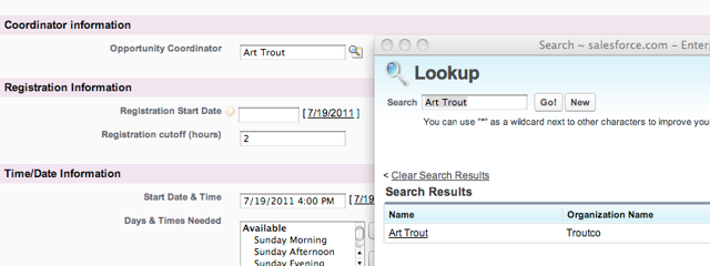 Here is the lookup window that pops up when I search for the Opportunity Coordinator Field in the occurrence record