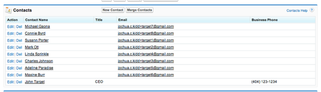 If I go to the Target organizational record - I see all my contacts are now associated with the organization