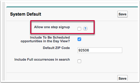 """If """"allow one-step Signup"""" is unchecked"""