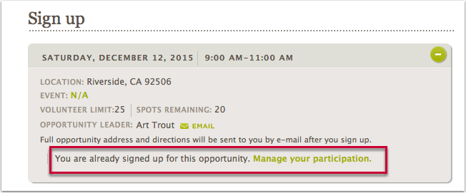 Feature 2: Sign up button no longer appears to a logged in user if they are already signed up for an occurrence.