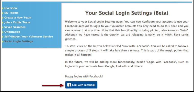 Social Login Settings page