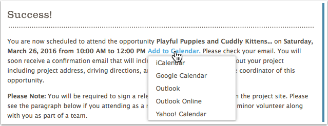 Clicking on the 'Add to Calendar' link will provide a choice of calendar formats: