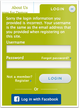 3.1 If a user puts in the wrong username - error message