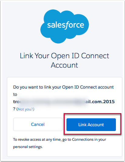 """Clicking on """"Link with Facebook"""" will take the user to a Salesforce page to create an Open ID Connect account"""""""
