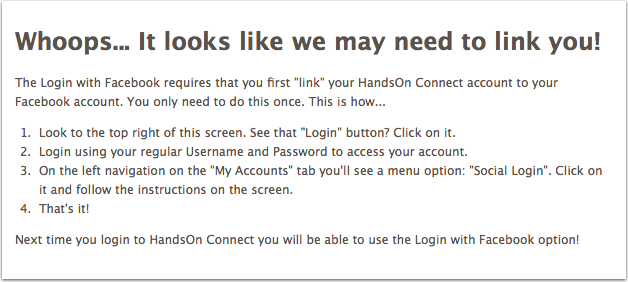 3.3.3 What happens If a volunteer tries to login with Facebook, before they have linked their account?