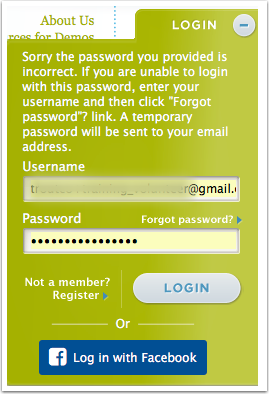 3.2 If the user puts in the correct username but the wrong password - error message