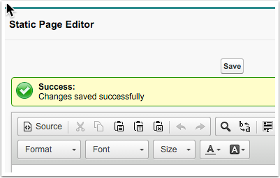 Success message now appears when editing in the static page editor