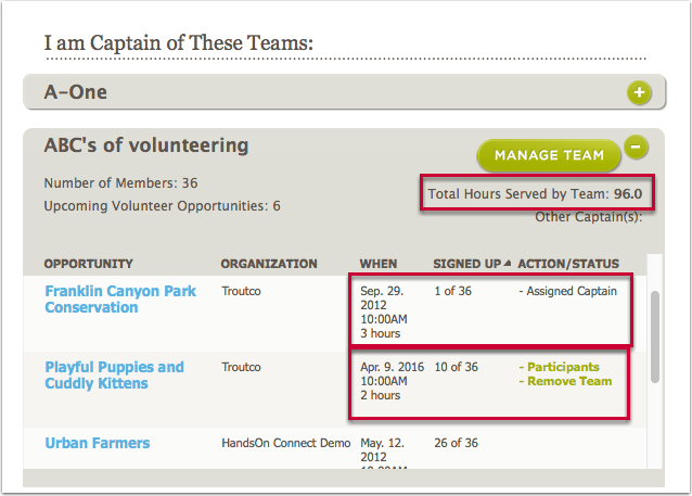 "Fixed:  Improved display and appropriate functionality for Team History in ""My Teams"" (HOC246)"
