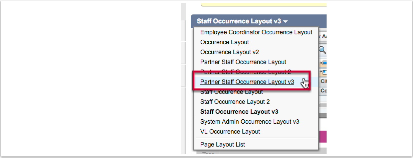 "Select the layout ""Partner Staff Occurrence v3"""