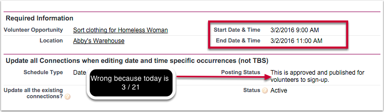 """Posting Status"" field on Volunteer Opportunity and Occurrence records will now be updated and accurate each day!  (HOC-252)"