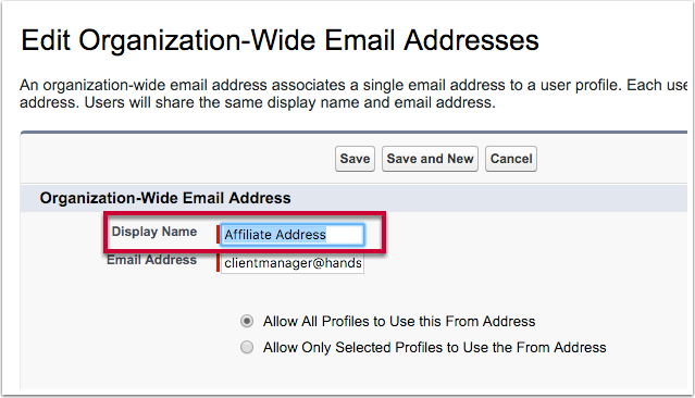 Change the Display Name to your preferred sender name
