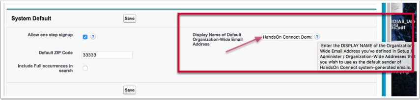 Go to Control Panel and enter the Display name in the System Defaults section