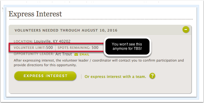 Page Enhancement:  Opportunity Detail Page for TBS opportunities - volunteer limit and slots remaining removed (HOC-424)