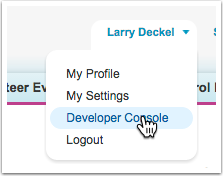 From the 'name' menu at the top of the page-- select Developer Console
